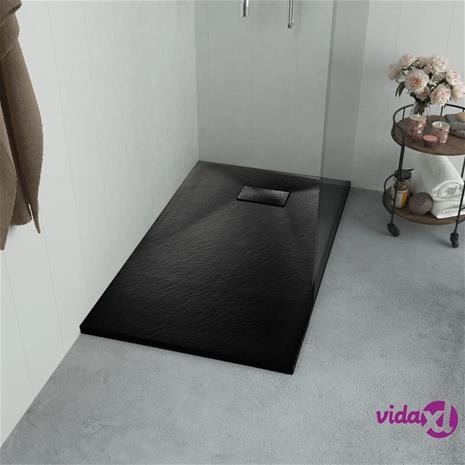 vidaXL Suihkualusta 100x80 cm SMC musta