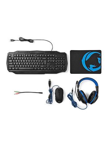 Nedis GCK41100BKND 4in1 Gaming Set (näppäimistö, hiiri, hiirimatto ja kuulokemikrofoni)