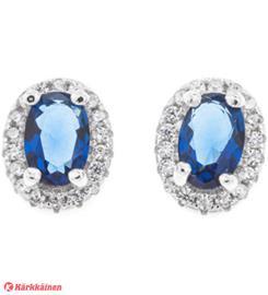 Silver Bar Lady Diana sininen hopeakorvakorut