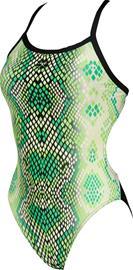 arena Snake Skin Challenge Back Yksiosainen Uimapuku Naiset, golf green/black