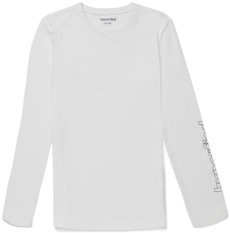 Hyperfied Jersey Logo Long Sleeve Top, Snow White 134-140