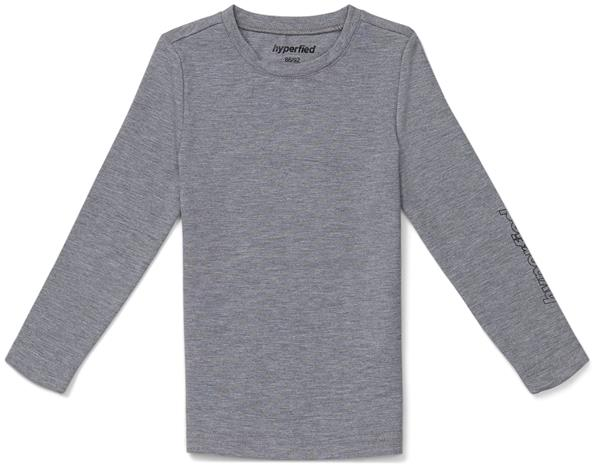 Hyperfied Jersey Logo Long Sleeve Top, Grey Melange 110-116