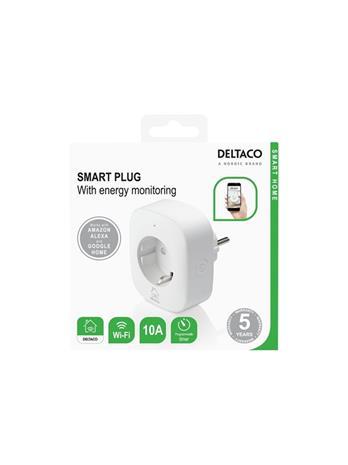 Deltaco Smart Home SH-P01E, WiFi-älypistorasia jossa energiankulutuksen seuranta