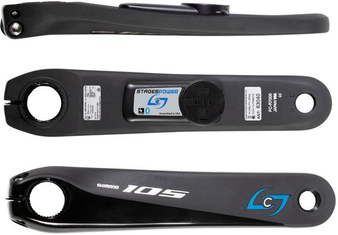 Stages Cycling Power L Powermeter Crank Arm for Shimano 105 R7000, black, Polkupyörien varaosat
