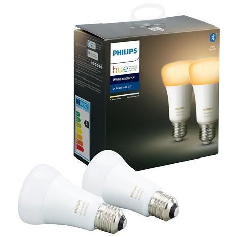 Philips Hue White Ambiance E27, bluetooth-ohjattavat lamput 8,5 W, 2 kpl