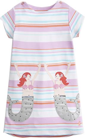 Tom Joule Applique Mekko, Cream Multi Stripe Mermaid 5 vuotta