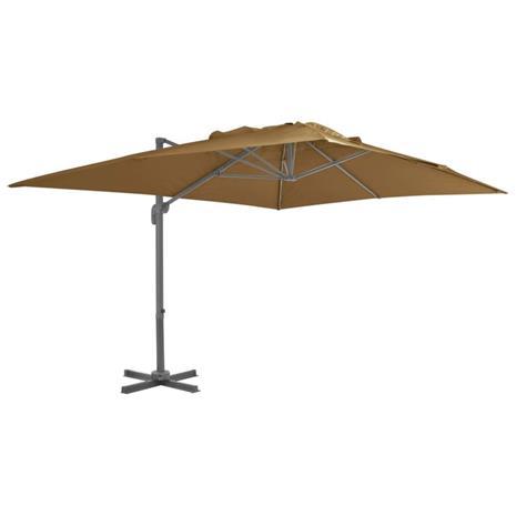 vidaXL Riippuva aurinkovarjo alumiinipylväällä 400x300cm ruskeanharmaa