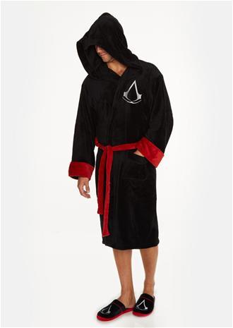 Assassins Creed Black Robe inc Logo & peaked hood - Adult