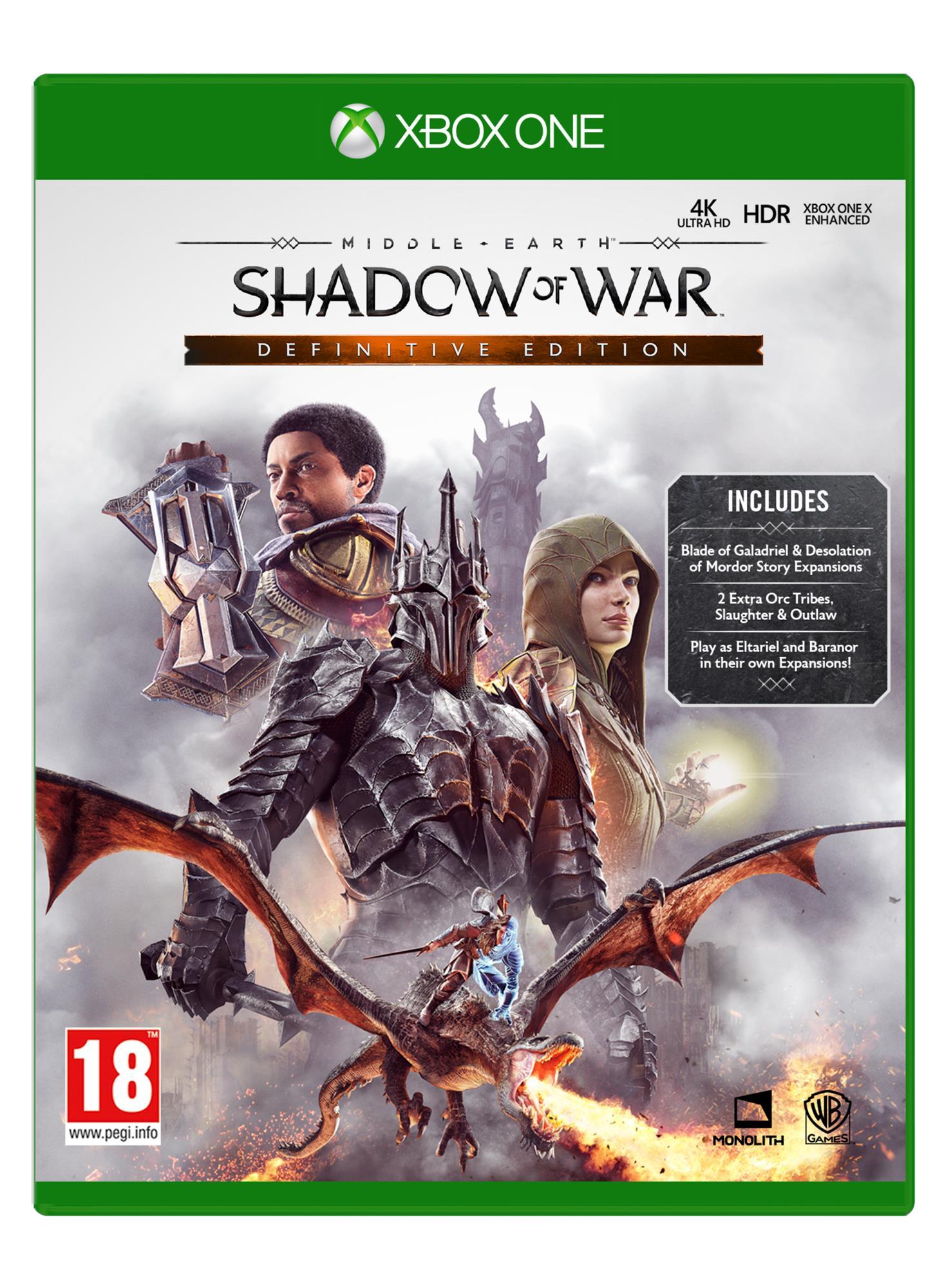 Middle Earth Shadow Of War Definitive Edition Xbox One Peli