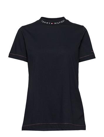 Tommy Hilfiger Logo Mock-Nk Tee Ss T-shirts & Tops Short-sleeved Tommy Hilfiger DESERT SKY
