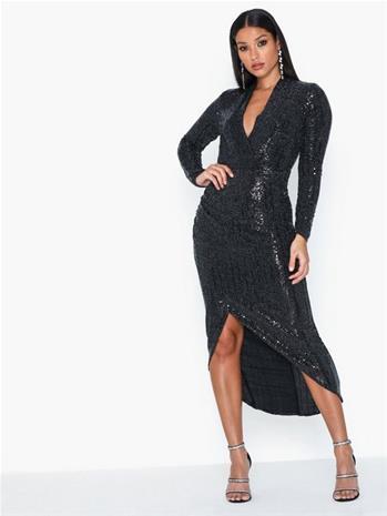 Ax Paris V Neck Glitter Midi Dress