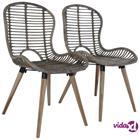 vidaXL Ruokapöydän tuolit 2 kpl ruskea luonnollinen rottinki