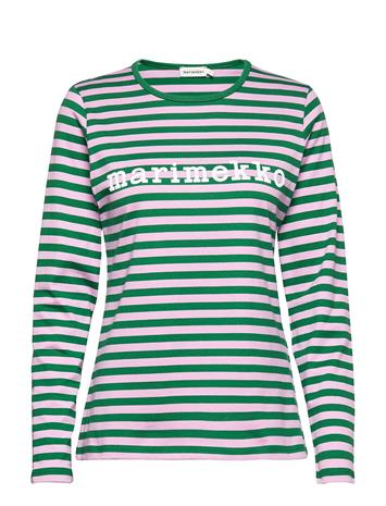 Marimekko Logo Mari Shirt T-shirts & Tops Long-sleeved Sininen Marimekko GREEN, LIGHT LILAC
