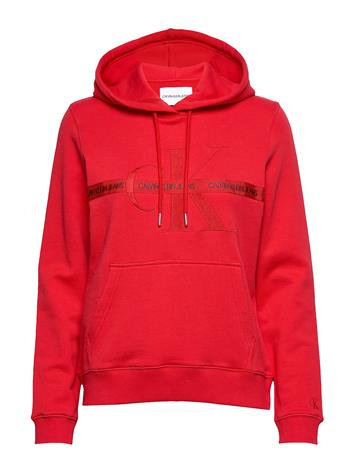 Calvin Klein Jeans Taping Through Monogram Hoodie Huppari Punainen Calvin Klein Jeans RACING RED