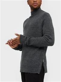 Topman Charcoal Grey Harlow Zip Funnel Neck Jumper Puserot Charcoal