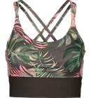 Soc W ENLITE CROP TOP PINK LEAF PRINT