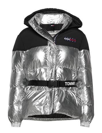 Tommy Jeans Tjw Mix Media Belted Jacket Vuorillinen Takki Topattu Takki Hopea Tommy Jeans SILVER