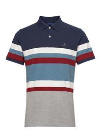 Gant D1. Stripe Pique Ss Rugger Polos Short-sleeved Monivärinen/Kuvioitu Gant DARK INDIGO MELANGE