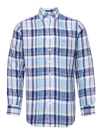 Gant O2. Linen Madras Reg Bd Paita Rento Casual Sininen Gant TOPAZ BLUE