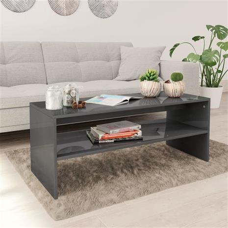 vidaXL Sohvapöytä korkeakiilto harmaa 100x40x40 cm lastulevy