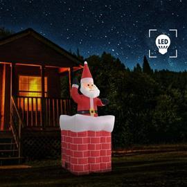 vidaXL oppustelig julemand i skorsten automatisk LED IP44 180 cm