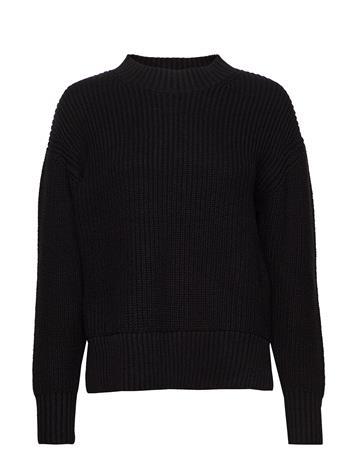 Selected Femme Slfbailey Ls Knit Slit O-Neck Noos Neulepaita Musta Selected Femme BLACK
