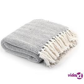 vidaXL Viltti puuvilla kalanruotokuvio 220x250 cm harmaa, Muut tekstiilit ja vuodevaatteet