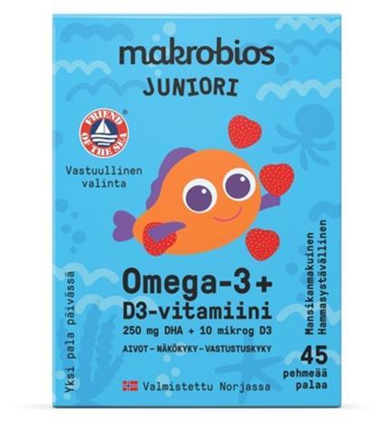 Makrobios omega-3 + D3 Juniori 45 kpl ravintolisä