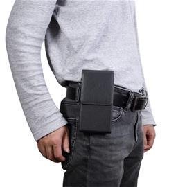 6,3 tuuman Universaali nahkainen Mobiililaukku/vyölaukku - Musta, CellularPhoneAccessories