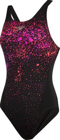 speedo SpeckleFlow Placement Recordbreaker Swimsuit Women, black/psycho red/neon orchid