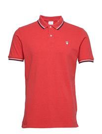 Knowledge Cotton Apparel Pique Polo - Gots Polos Short-sleeved Punainen Knowledge Cotton Apparel SCARLET MELANGE