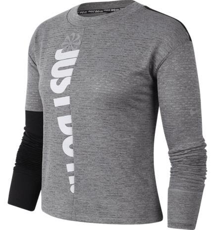 Nike W NK ICNCLSH SPHR TOP CREW IRON GREY/BLACK/HT