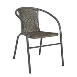 Tuoli BISTRO 52x58xH72cm, istuin ja selkänoja: muovipunos, teräsrunko, väri: harmaa