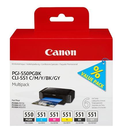 Canon PGI-550/CLI-551 PGBK/C/M/Y/BK/GY, mustekasetti