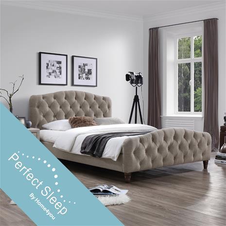 Sänky SANDRA patjalla HARMONY DUO (86744) 160x200cm, kangasverhoiltu, väri: vaaleanruskea