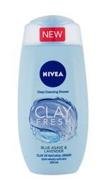 Nivea Clay Fresh suihkugeeli naiselle 250 ml, Blue Agave & Lavender