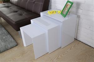 Näpsä-sarjapöydät, 3 kpl, valkoinen