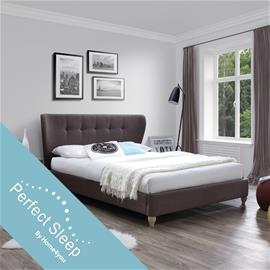 Sänky VICTORIA patjalla HARMONY DELUX (85266) 160x200cm, kangasverhoiltu, väri: ruskea