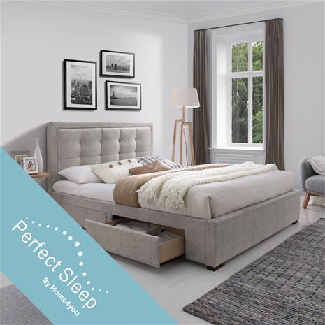 Sänky DUKE 4-laatikkoa, patjalla HARMONY DELUX (85266) 160x200cm, kangasverhoiltu, väri: beige