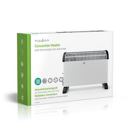 Nedis HTCO30FWT 2000W valkoinen, konvektiolämmitin termostaatilla, tuulettimella ja ajastimella