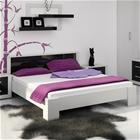 Sänky Atlanta 160 x 200 cm, valkoinen/kiiltävän musta