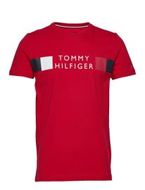 Tommy Hilfiger Rwb Stripe Tee T-shirts Short-sleeved Punainen Tommy Hilfiger PRIMARY RED