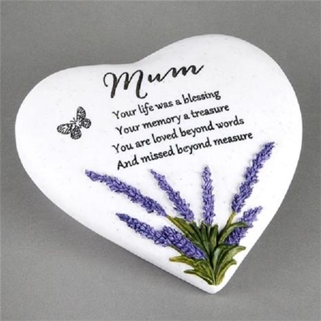 Mum - Hjärtformad Gravsmyckning gravsten