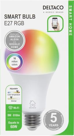Deltaco Smart RGB Bulb -älylamppu, E27, 10W