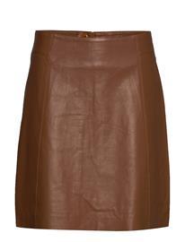 Cream Taracr Leather Skirt Polvipituinen Hame Ruskea Cream COGNAC