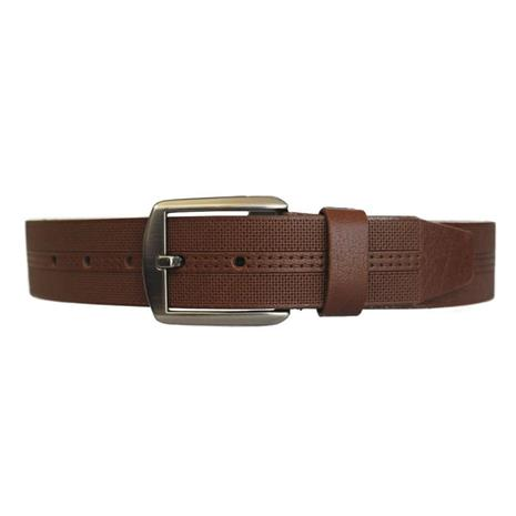 Nahkainen housujen vyö Premium, ruskea 3,5 x 125 cm.