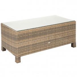 Sohvapöytä SEVILLA 102x50,5xH43,5cm, pöytälevy: 5mm lasi, alumiinirunko muovipunoksella, väri: cappuccino