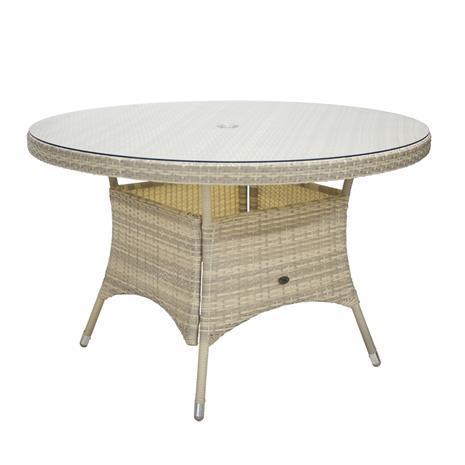 Wicker pöytä, D120xH76cm, beige