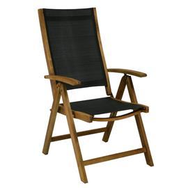 Tuoli FUTURE 57x69xH107cm, taitettava, istuin: tekstiiliä, väri: musta, puu: akaasia, viimeistely: öljytty