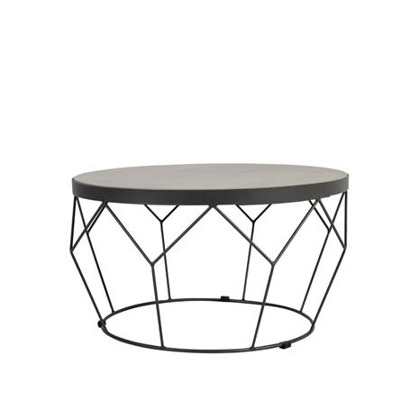 Pöytä SANDSTONE D51xH28cm, pöytälevy: kalkki betoni, tummanharmaa metallinen alusrunko